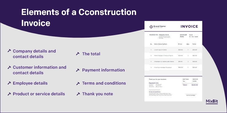 Elements of a construction invoice