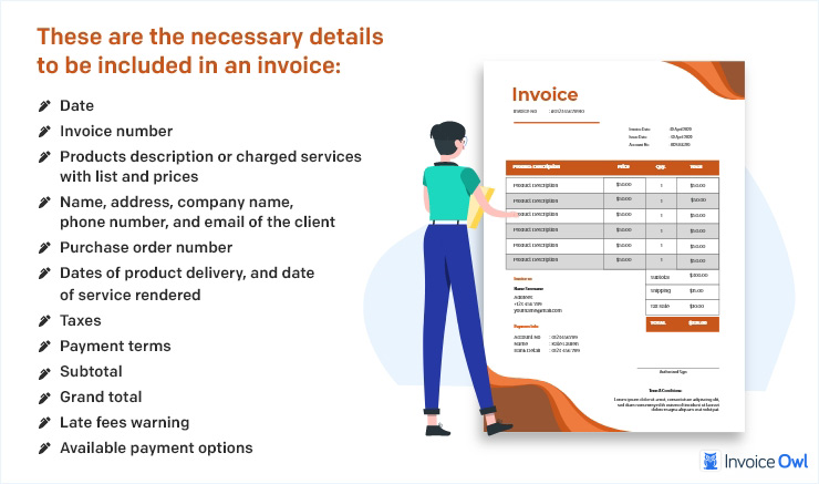 Necessary details to be included in an invoice