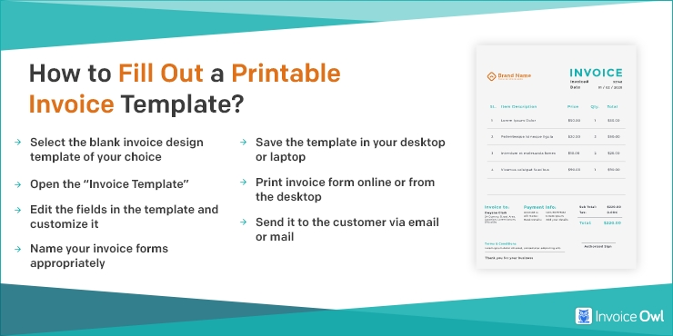 How to fill out a printable invoice template?