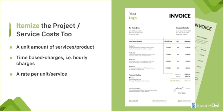 Itemize the Project/Service Costs too
