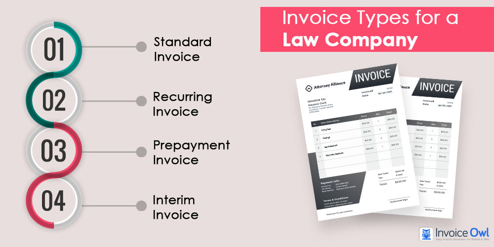 Invoice Types for a Law Company