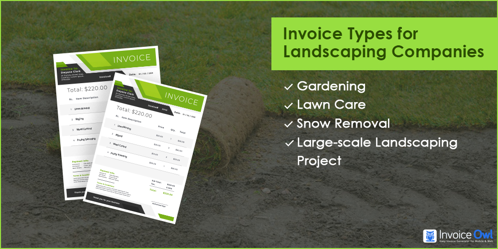 Invoice types for landscaping companies