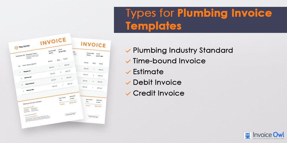 Types for plumbing invoice templates