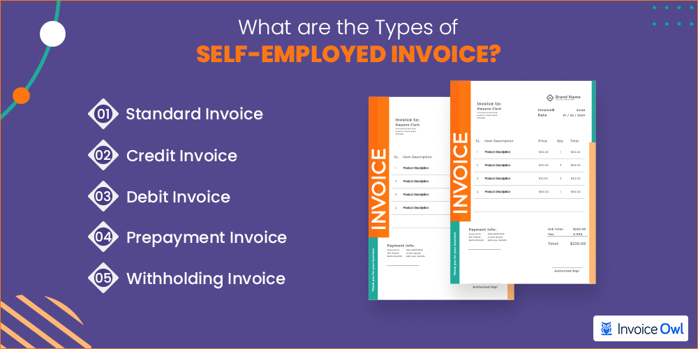 Different invoice types of self-employed invoice