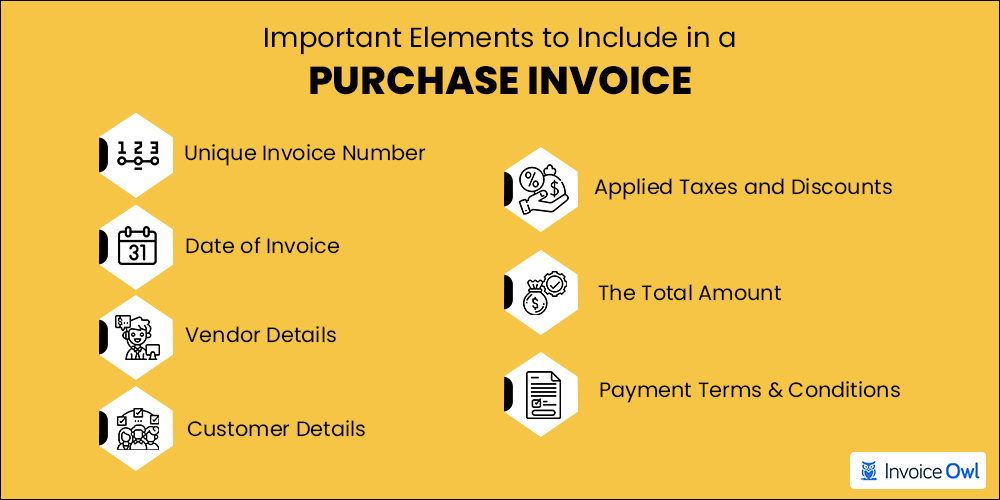Important elements to include in a purchase invoice